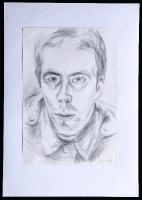 1986-01-26-Selbstporträt mit zugeknöpfter Uniformjacke wahrscheinlich bei Kunstlicht, Bleistift_1